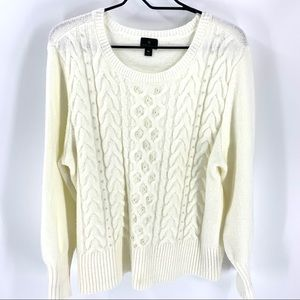 Worthington cable knit sweater with pearl detail